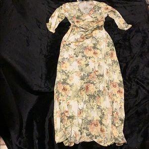 NWT 3/4 Sleeve Maxi Floral Dress Sz XL